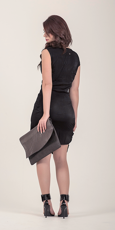 Black Hydro Draped Dress