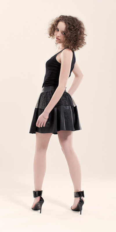 Indie Black PU Skirt