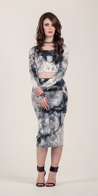 Simulator Grey Tie Dye Crop Top