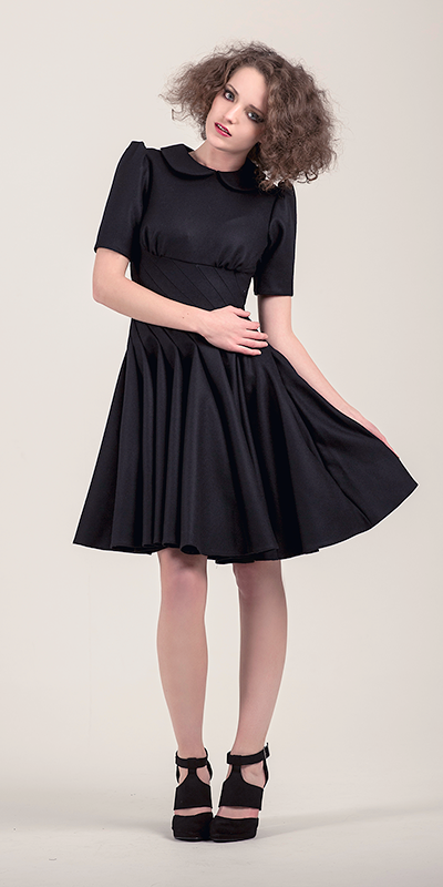 Twisted Black Wool Dress